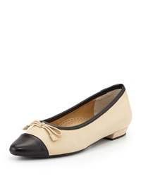 Neiman Marcus Gretchen Pointed Toe Flat Pudding Black