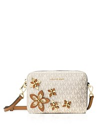 Michael Michael Kors Flower Pouch Medium Logo Camera Bag Vanilla Gold