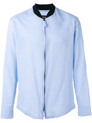 Giorgio Armani Band Collar Zipped Shirt Blue