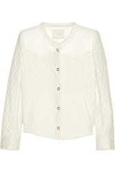 Iro Leather Trimmed Linen And Cotton Blend Tweed Jacket White