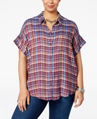 Lucky Brand Trendy Plus Size Plaid Oversized Shirt Multi
