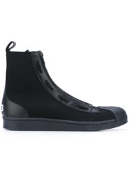 Y 3 Zip Strap Boots Men Leather Neoprene Rubber 9 Black