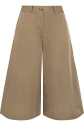 Maison Martin Margiela Mm6 Cropped Wide Leg Cotton Pants Army Green