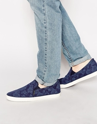 Jack And Jones Jack And Jones Brado Canvas Print Slip On Plimsolls Blue