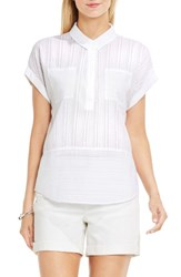 Vince Camuto Women's Two By Shadow Stripe Top Ultra White