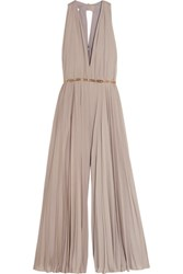 Halston Heritage Embellished Pleated Georgette Jumpsuit Taupe