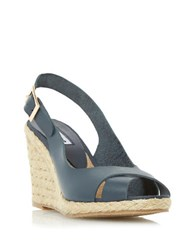 Dune Kia Leather Espadrille Wedge Sandals Navy Blue