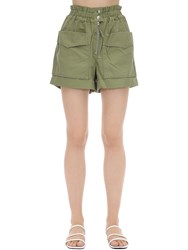 Etoile Isabel Marant Lizy High Waist Cotton Canvas Shorts Army Green