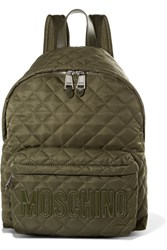 Moschino Patent Leather Trimmed Quilted Shell Backpack Army Green