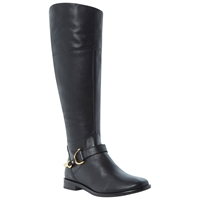 Dune Taffey Leather Buckle Knee High Boots Black