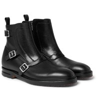 Alexander Mcqueen Leather Monk Strap Boots Black