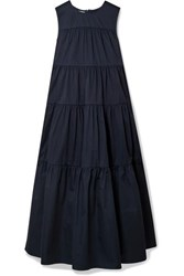 Tiered Cotton Sateen Midi Dress Navy