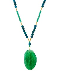 Panacea Beaded Green Agate Pendant Necklace