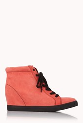 Forever 21 Electric Wedge Sneakers Coral