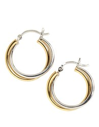 Lord And Taylor Sterling Silver Twist Hoop Earrings Two Tone