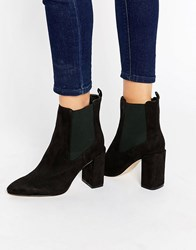 London Rebel Flare Heeled Ankle Boots Black Mf