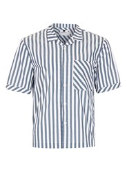 Topman Grey And White Block Stripe Short Sleeve Casual Shirt