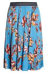 Halogen Plus Size Printed Pleated Skirt Blue Vibrant Floral
