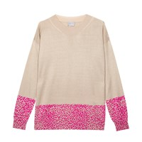 Orwell Austen Cashmere Sweater With Pink Leopard Print Pink Purple