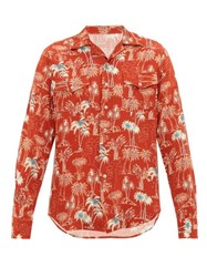 The Gigi Araki Palm Tree Print Cuban Collar Shirt Orange Multi