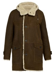 Yves Salomon Hooded Shearling Lined Leather Coat Brown