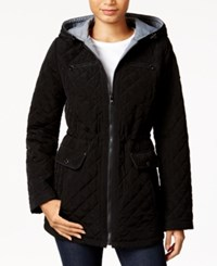 Laundry By Design Hooded Quilted Anorak Jacket Black