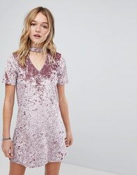 Hollister Crushed Velvet Choker Dress Elderberry Red