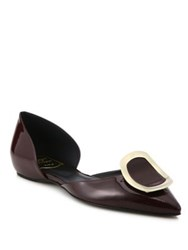 Roger Vivier Sexy Choc Patent Leather D'orsay Flats Beige