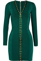 Balmain Ribbed Stretch Knit Mini Dress Emerald