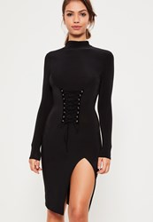 Missguided Black Slinky Corset Detail Bodycon Dress