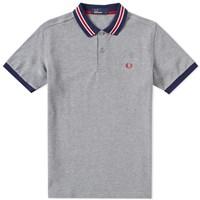 Fred Perry Bomber Stripe Pique Polo Grey