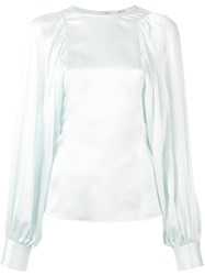 Celine Top With Gathered And Cuffed Sleeves Blue