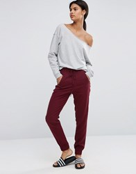Asos Woven Casual Trousers With Zip Pockets Oxblood Multi