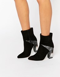 Truffle Collection Clear Detail Heel Boot With Contrast Panel Black Mf
