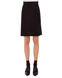 Akris Punto A Line Suede Leather Knee Length Skirt W Eyelet Detail Black
