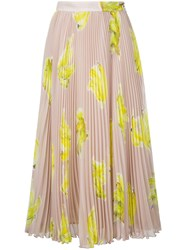 Msgm Banana Print Pleated Skirt Women Polyester 40 Nude Neutrals