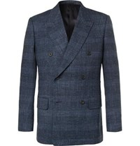 Kingsman Harry's Navy Double Breasted Checked Wool Blend Blazer
