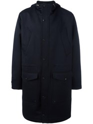 Ami Alexandre Mattiussi Hooded Coat Blue
