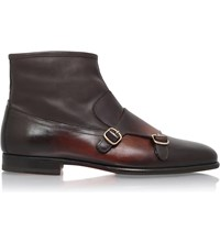 Santoni Carlos Leather Monk Strap Ankle Boots Dark Brown