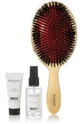 Balmain Paris Hair Couture Gold Boar Bristle Brush And Haircare Set