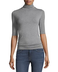 Majestic Soft Touch Half Sleeve Turtleneck Gris Chine