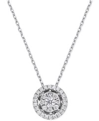 Macy's Diamond Cluster Halo Pendant Necklace 1 4 Ct. T.W. In 14K White Gold