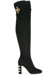 Dolce And Gabbana Rear Slit Thigh Boots Black
