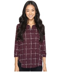 Nydj Petite 3 4 Sleeve Pleat Back Solid Frosted Windowpanes Women's Blouse Brown