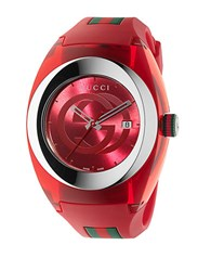 Gucci Unisex Red Sync Stainless Steel And Rubber Watch 46Mm