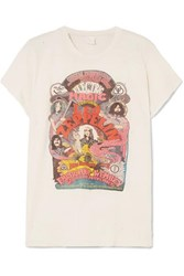 Madeworn Led Zeppelin Distressed Printed Cotton Jersey T Shirt White