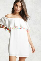 Forever 21 Off The Shoulder Tassel Dress Cream