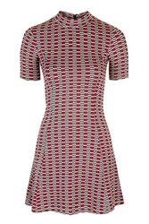 Topshop Petite Jacquard Flippy Dress Red