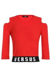 Versus By Versace Cold Shoulder Intarsia Stretch Knit Top Red