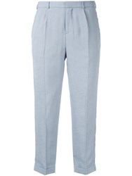 Loveless Cropped Trousers Blue